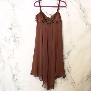 NWT Nine West Brown 100% Silk Asymmetrical  10